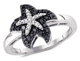 1/6 Carat (ctw I2-I3) White & Enhanced Black Diamond Starfish Ring in 10K White Gold