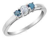 White and Blue Three Stone Diamond Ring 2/5 Carat (ctw) in 10K White Gold