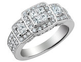 1.33 Carat (ctw H-I, I1-I2) Princess Cut Diamond Engagement Ring & Double Wedding Band Set in 14K White Gold
