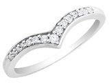 Diamond Chevron Ring 1/10 Carat (ctw) in Sterling Silver
