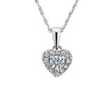 Diamond Heart Pendant Necklace 1/4 Carat (ctw I2-I3, H-I) in 10K White Gold with Chain