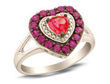 Lab Created Ruby and Pink Sapphire Heart Ring with Diamonds in Sterling Silver