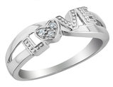 Diamond 'Love' Promise Ring in Sterling Silver