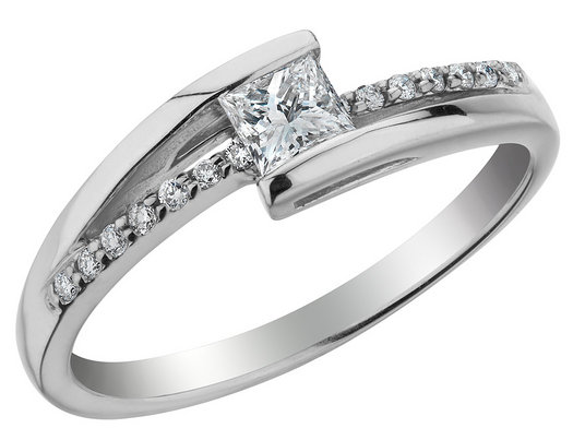Princess Cut Diamond Engagement Ring 1/3 Carat (ctw) in 14K White Gold