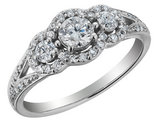 3/4 Carat (ctw H-I, I1-I2) Three Stone Diamond Engagement Ring in 14K White Gold