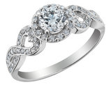 3/4 Carat (ctw Color H-I, I1-I2) Diamond Infinity Halo Engagement Ring in 14K White Gold