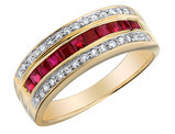 1/2 Carat (ctw) Natural Ruby Ring with Diamonds 1/7 Carat (ctw H-I,I1-I2) in 10K Yellow Gold