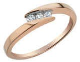 10K Rose Gold Diamond Journey Ring 1/10 Carat (ctw)