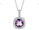 Amethyst Pendant Necklace with Diamond Accent 1 3/4 (ctw) in Sterling Silver with Chain
