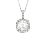 Created White Topaz Pendant Necklace with Diamond Accent 1 3/4 Carat (ctw) in Sterling Silver with Chain
