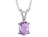 8x6mm Amethyst Pendant Necklace in Sterling Silver with Chain