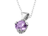 6mm Amethyst Pendant Necklace in Sterling Silver with Chain