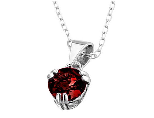 6mm Garnet Pendant Necklace in Sterling Silver with Chain