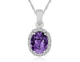 Amethyst Pendant Necklace with Simulated White Topaz in Sterling Silver with Chain