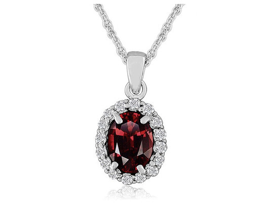 Garnet Pendant Necklace with Created White Topaz in Sterling Silver with Chain