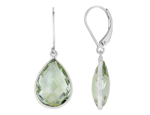 Green Amethyst Teardrop Checkerboard Earrings 12.0 Carat (ctw) in Sterling Silver