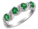 Emerald Ring with Diamonds 4/5 Carat (ctw) in 10K White Gold