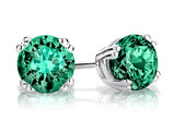 1.50 Carat (ctw) Created Emerald Stud Earrings in Sterling Silver