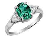 Created Emerald and White Topaz Ring in Sterling Silver