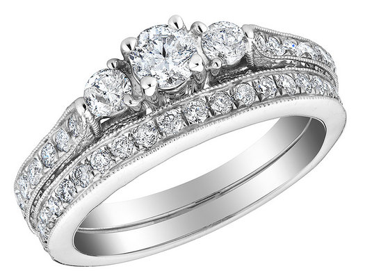 1.00 Carat (ctw) Three Stone Diamond Engagement Ring and Wedding Band Set in 10K White Gold
