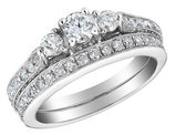 1.00 Carat (ctw) Three Stone Diamond Engagement Ring and Wedding Band Set in 10K White Gold