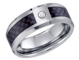 Men's Simulated Cubic Zirconia Wedding Band in Tungsten