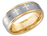 Men's Cross Wedding Band in Tungsten with Gold Plating