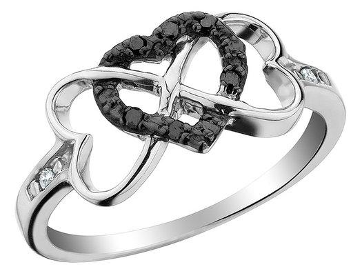 1/10 Carat (ctw) Black Diamond Triple Heart Ring in Sterling Silver