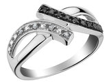 White & Black Diamond CrossOver Fashion Ring in Sterling Silver