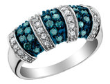 White and Blue Diamond Ring 3/4 Carat (ctw) in 10K White Gold