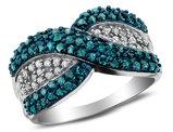 White and Blue Diamond Ring 1.0 Carat (ctw I2-I3) in 10K White Gold