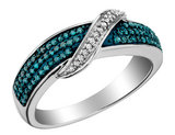 White and Blue Diamond Ring 1/3 Carat (ctw) in 10K White Gold