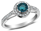 White and Enhanced Blue Solitaire Diamond Ring 2/5 Carat (ctw I2-I3) in 10K White Gold