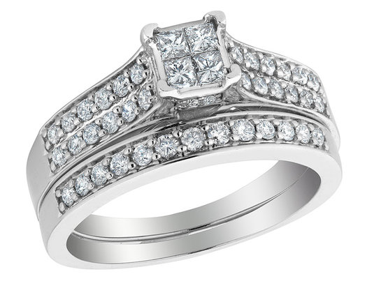 1.04 Carat (ctw Color H-I, Clarity I1-I2) Princess Cut Diamond Engagement Ring and Wedding Band Set in 14K White Gold
