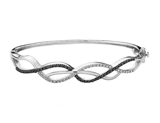 White and Black Diamond Bangle Bracelet 2/5 Carat (ctw) in Sterling Silver