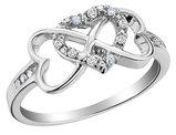 Infinity Triple Heart Diamond Ring 1/10 Carat (ctw) in Sterling Silver