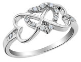Infinity Triple Heart Diamond Ring 1/10 Carat (ctw) in Sterling Silver