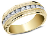 Men's Diamond Wedding Band 1.0 Carat (ctw) in 10K Yellow Gold