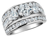 1.00 Carat (ctw H-I, I1-I2) Three Stone Diamond Engagement Ring in 14K White Gold