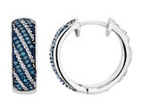 White and Blue Diamond Hoop Earrings 2/3 Carat (ctw) in Sterling Silver