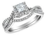1/2 Carat (ctw G-H, I1-I2) Infinity Princess Cut Diamond Engagement Ring & Wedding Band in 14K White Gold