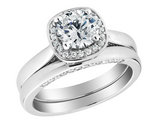 1.45 Carat (ctw I1, H-I) Diamond Engagement Ring & Wedding Band Set in 14K White Gold