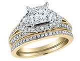Princess Cut Diamond Engagement Ring and Wedding Band Set 1.74 Carat (ctw) (1Ct Center) in 14K Yellow Gold