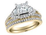 1.74 Carat (ctw G-H, I1) Princess Cut Diamond Engagement Ring and Wedding Band Set in 14K Yellow Gold