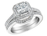 Princess Cut Diamond Engagement Ring and Wedding Band Set 1.6 Carat (ctw) (1Ct Center) in 14K White Gold