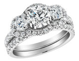 2.30 Carat (ctw I1-I2, G-H) Diamond Engagement Ring & Wedding Band Set  in 14K White Gold