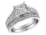 Princess Cut Diamond Engagement Ring and Wedding Band Set 1.5 Carat (ctw) in 14K White Gold