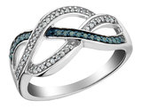 White and Blue Diamond Ring 1/6 Carat (ctw) in Sterling Silver
