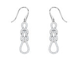 Synthetic Crystal Love Knot Earrings 1.00 Carat (ctw) in Sterling Silver