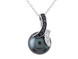Grey Synthetic Man Made Shell  Pearl Pendant Necklace with Synthetic White and Black Crystal in Sterling SIlver